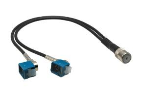 Anténní adaptér ISO samice - 2x FAKRA 90° samice
