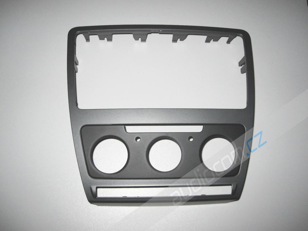 Krycí rámeček k autorádiu Škoda Octavia II. facelift s man. klimatizací - Tmavě šedý