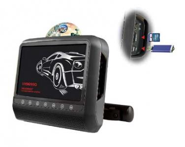 Černý monitor na opěrku hlavy s DVD/SD/USB